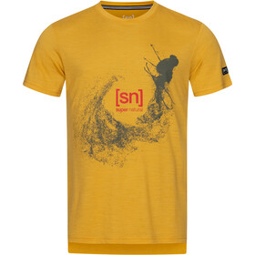 super.natural Graphic Tee Men, mustard/olive night freestyle